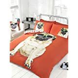 Bedding Heaven Reversible, Fun Design. PERCY PUG DUVET COVER, RED. DOUBLE BED SIZE DUVET COVER. Cute Dog in Sunglasses, Paw Prints on Reverse. by Bedding Heaven