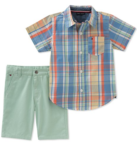 Tommy Hilfiger 2 Piece - Tommy Hilfiger Boys' 2 Pieces Shirt Shorts Set, Blue/Green/Orange, 3T