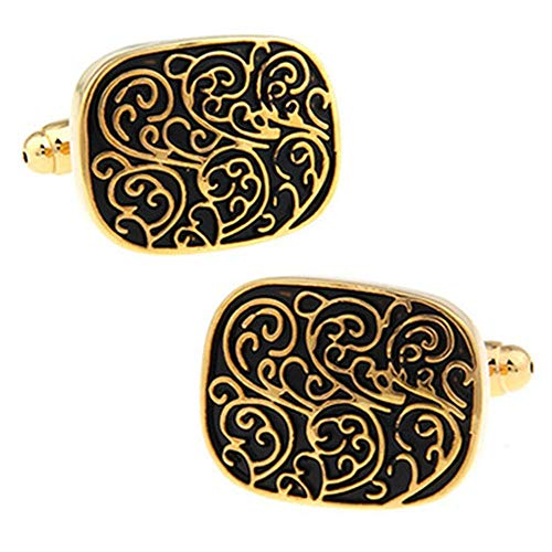 SJJY French Shirt Cufflinks 2PC Chinese Style Retro Pattern Totem Cufflinks Oval Carved Pattern