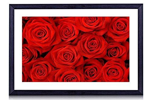 Red Rose Framed (Red Roses - Art Print Black Wood Framed Wall Art Picture For Home Decoration - 16