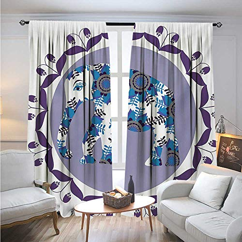 EthnicBlackout DrapesOrnate Elephant Figure in Medallion Pattern with Tulip Flowers Eastern ArtworkCover The Sun W72 x L96 Lilac Blue ()