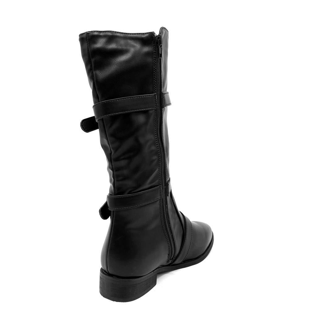 Angkorly - Damen Schuhe Stiefel - - - Biker - Reitstiefel Kavalier - Rock - String Tanga - Schleife Blockabsatz 3 cm dc272b
