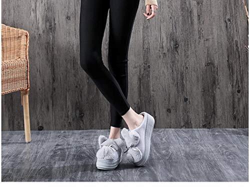Solides Bottes Plate Chaussons Chaussures Gris Peluche Haute Femmes De Chauds Belle En Printemps Intérieur Fourrure Chaud Accueil Plats Animaux forme Zv5ZIn