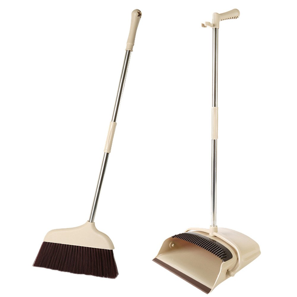 Lemonda Lazy Broom and Dustpan Kit,Home Floor Garden Kitchen Office Sweeping Cleaning with Sweeper Broom & Dust Pan for Outdoor Indoor Use Upright Stand up Dustpan Broom Set