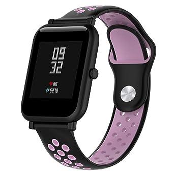 Lomire Correa de Muñeca Silicona de Reloj 20mm Universal Pulsera Impermeable Ligero Ventilar para Huami Amazfit Bip/Youth Watch para Hombre y Mujer