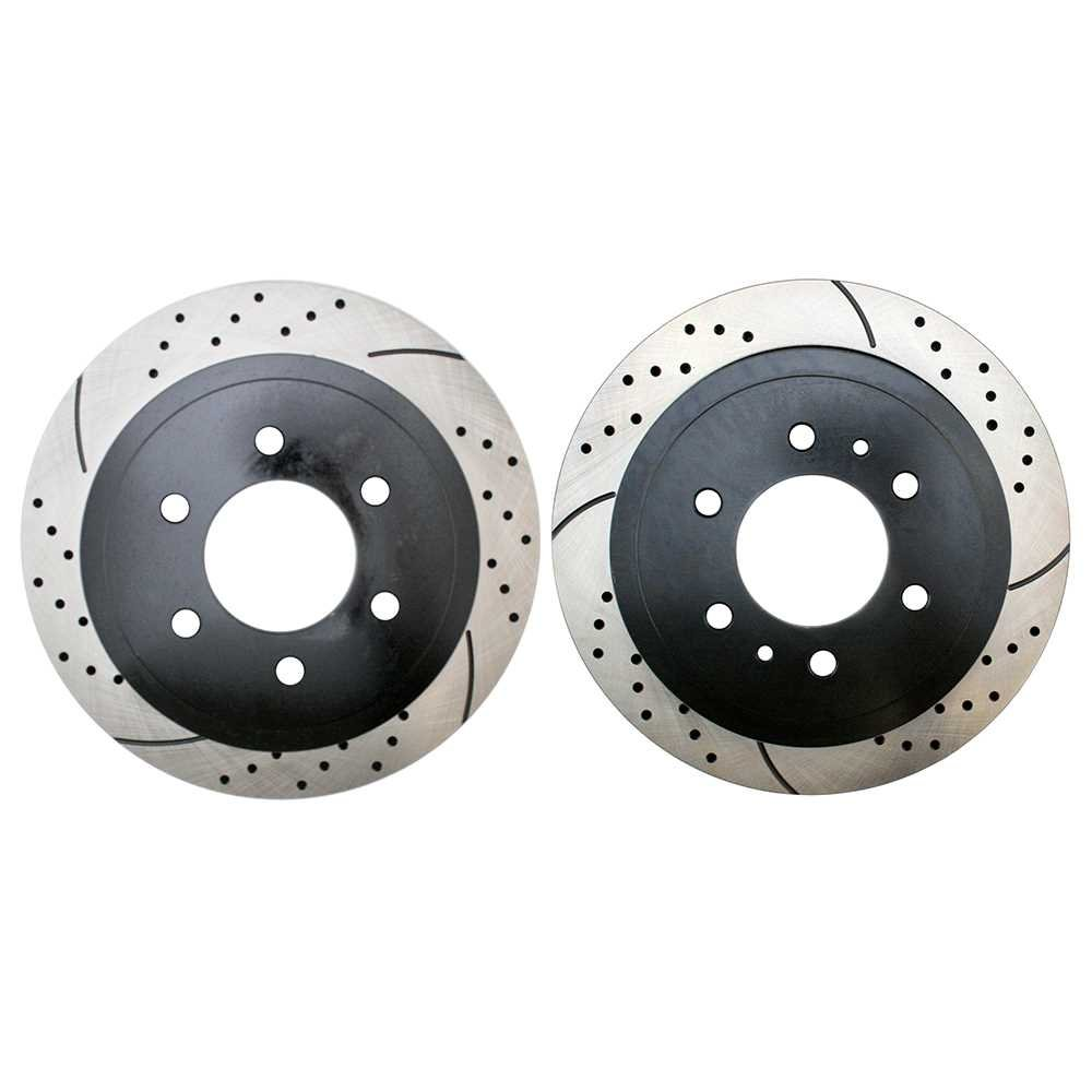 Prime Choice Auto Parts PR64113LR Rear Set 2 Drilled Slotted Performance Brake Rotors 6 Stud