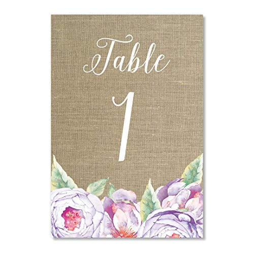 "Rustic Purple Flower Table Numbers 25 Count Reserved All Occasion Lavender Floral Single Side 4"" x 6"" Set Centerpiece Décor Baby Baptism Bridal Shower Brunch Retirement Dinner Banquet DB Party Studio"