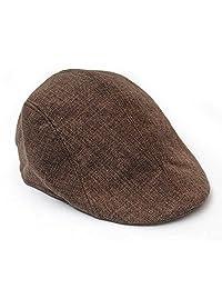 Poity Men Golf Driving Sun Flat Cabbie Newsboy Unisex Herringbone Duckbill Ivy Hat Cap Coffee