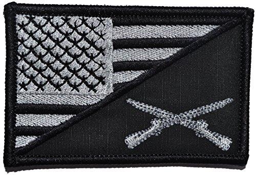 Rifle Cross USA Flag 2.25 x 3.5 inch Morale Patch (Black (Cross Rifle)