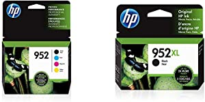 HP 952 | 4 Ink Cartridges | Black, Cyan, Magenta, Yellow | F6U15AN, L0S49AN, L0S52AN, L0S55AN & 952XL | Ink Cartridge | Black | F6U19AN