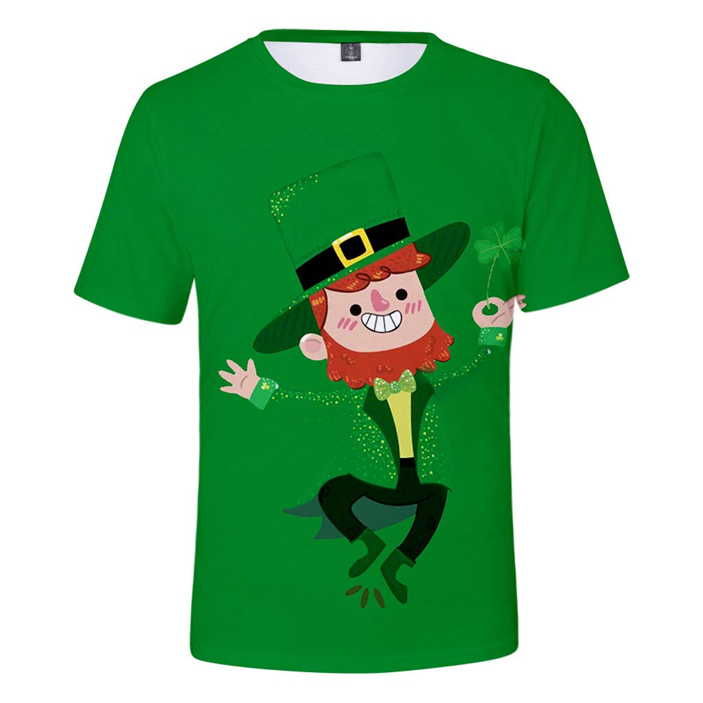 St. Patrick's Day Fashion Men's Cartoon Printed Short Sleeve T-Shirt, Casual Funny Tops, Festival Plus Size M-4XL