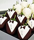 Bride & Groom Decorated Belgian Chocolate Covered Strawberries - 12pc Wedding Chocolate Strawberries