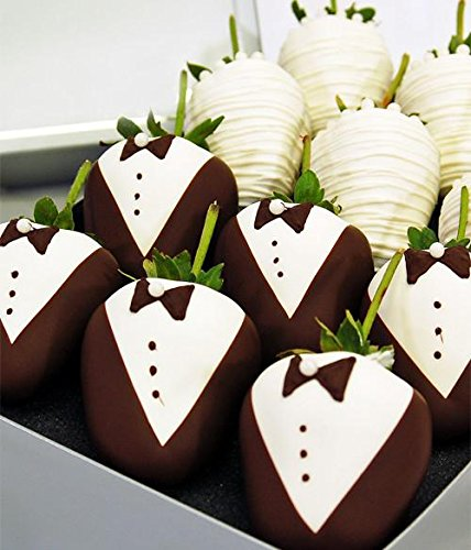 Bride & Groom Decorated Belgian Chocolate Covered Strawberries - 12pc Wedding Chocolate Strawberries by Chocolate Covered Company (Image #3)