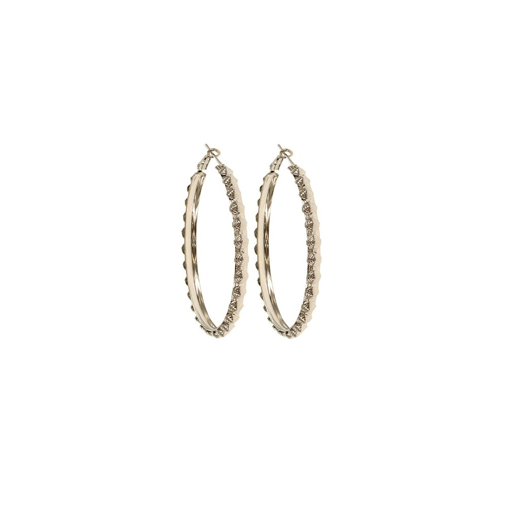 Womens and Girls Silver Plated Floral Hoops