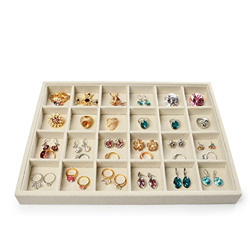 Oirlv Linen 24 Grids Jewelry Organizer Trays Rings Pendant Earrings Storage Tray Showcase Display(13.8 X 1.4X 9.4)