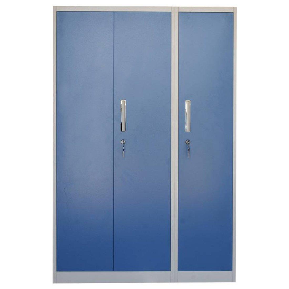 Woodness Tilda 3-Door Metal Almirah (Glossy Finish, Blue)