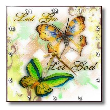 "3dRose dpp_55923_2 Let Go Let God Butterfly Digital Print Wall Clock, 13 by 13"""