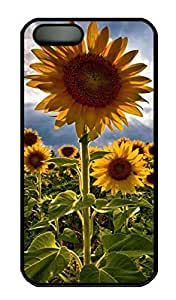Sunflower 1 Customized Popular DIY Hard Back Case Cover For iPhone 5 5S Hard Black
