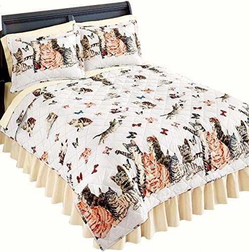 Playful Cats & Kittens White Quilt w/2-SHAMS (3pc F/Q Size Quilt Set) BEDSKIRT NOT Included!