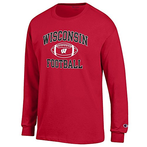 (Elite Fan Shop NCAA Men's Wisconsin Badgers Football Long Sleeve T-shirt Team Color Wisconsin Badgers Cardinal Medium)