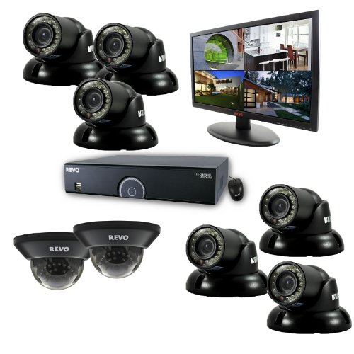 REVO America R165D2GT6GM21-2T 16 Channel 2TB 960H DVR Surveillance System with 8 700TVL 100-Feet Night Vision Cameras and 21.5-Inch Monitor (Black) (16 Channel Audio Monitor)