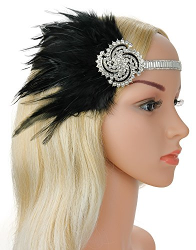1920s Gatsby Flapper Feather Headband 20s accessories Crystal Beaded Wedding Headpiece