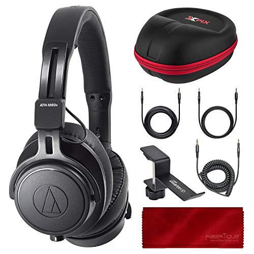 (Audio-Technica ATH-M60X On-Ear Closed-Back Dynamic Professional Studio Monitor Headphones, Black with Xpix HardBody Headphone Case and Accessory Bundle)