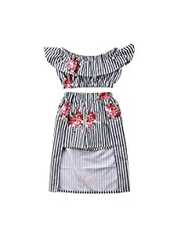 WIFORNT Toddler Girl Stripe Off Shoulder Floral Crop Top + Skirt Shorts Set Outfits