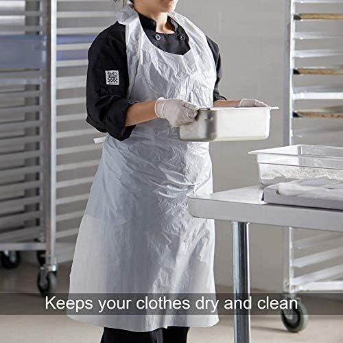 Grembiuli usa e getta trasparenti, facili da usare, per donne e uomini, da cucina, grembiuli usa e getta, set da 100 pezzi