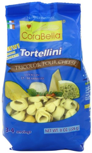 - Corabella Four Cheese Tortellini Pasta, Tricolor, 8 Ounce (Pack of 12)