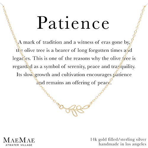 (MaeMae 14k Gold Vermeil Olive Branch Necklace for Women, Dainty Cable Chain, 16