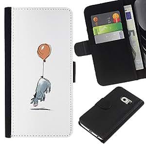 Planetar® Modelo colorido cuero carpeta tirón caso cubierta piel Holster Funda protección Para Samsung Galaxy S6 / SM-G920 EDGE ( Minimalist Cartoon Kids )