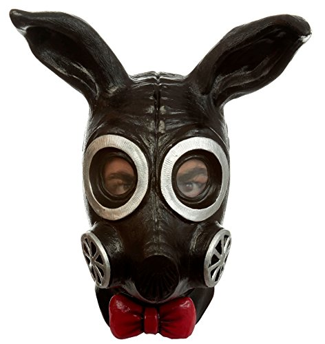 Ghoulish Productions Black Bunny Rabbit Gas Mask Latex Apocalypse LARP Halloween Costume Accessory ()