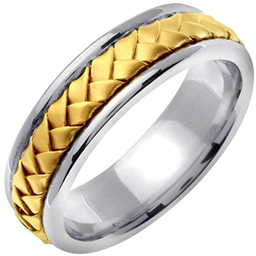 Two Tone Platinum and 18K Yellow Gold Braided Basket Weave Men's Wedding Band (7mm) Size-14.5c2