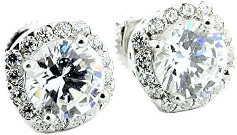 8470 CZ Square Stud Stainless Steel Lab Simulated Diamond .925 Hip Hop Earrings Mens Screw On Back