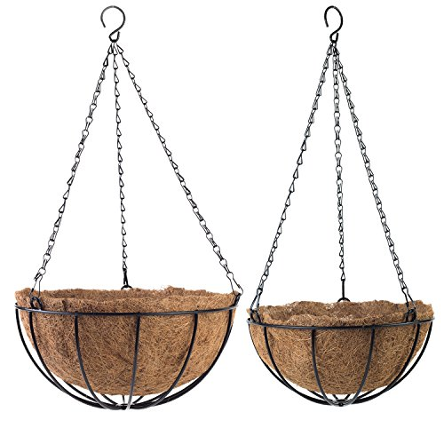 Tosnail PVC Coated Metal Traditional Hanging Basket Planter with Coco Liner - Great for Indoor or Outdoor Plants - Set of 2 in Different Sizes