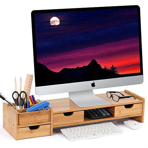 LITTLE TREE Bamboo 2-Tier Monitor Stand Riser with 3 Drawers Laptop TV Printer Stand with Multipurpose - Stand Printer 2 Level
