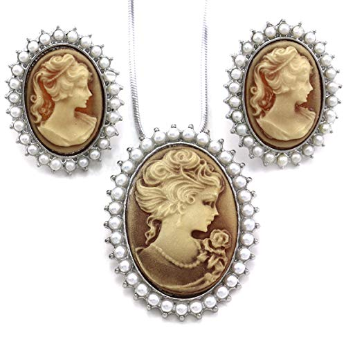 Soulbreezecollection Light Brown Cameo Jewelry Set Necklace Pendant Stud Post Earrings Faux Pearl ()