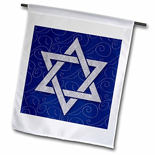 3dRose Doreen Erhardt Hanukkah Collection - Star of David Faux Silver Glitter on Blue and Silver Swirls Hanukkah - 12 x 18 inch Garden Flag (fl_264278_1) (Garden Star Collection)
