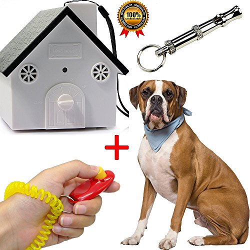 Pet & Pat Ultrasonic Anti Barking Device Indoor/Outdoor Bark Controller Dog Barking Deterrents Value Pack Clicker + Sonic Whistle Stop Neighbor's Dog from Barking No Harm to Pets Birdhouse Red/Black by Pet & Pat Products