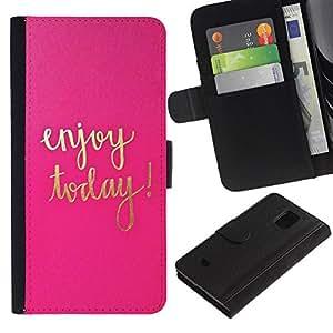 Hoy texto motivación oro rosa- la tarjeta de Crédito Slots PU Funda de cuero Monedero caso cubierta de piel Para Samsung Galaxy S5 Mini (Not S5), SM-G800