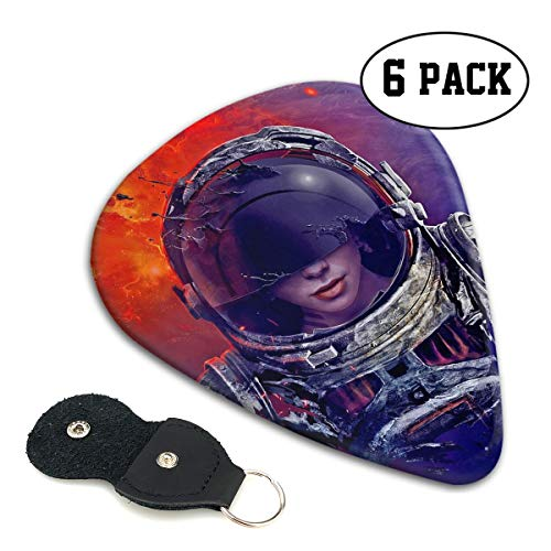 - Janeither Celluloid Guitar Picks Astronaut Women Artwork Pattern Cool Stylish Guitar Accessories 6 Pack for Acoustic, Electric, Original and Bass Guitars