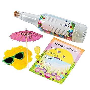 6 X Flaschenpost Kindergeburtstag Sommerparty Hawaii Sommerfest Einladung