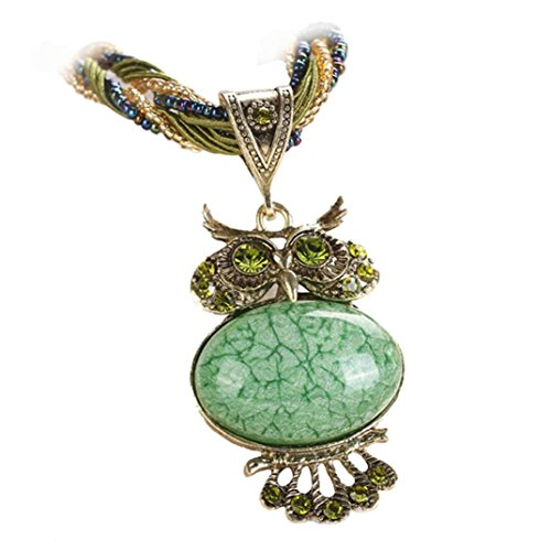 - Clearance! Jewelry Womens Bohemian Rhinestone Owl Charm Animal Gemstone Pendant Statement Necklace Long Chain 22'' (Green)