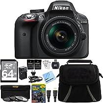 Nikon D3300 24.2 MP CMOS Digital SLR Camera Bundle with AF-S DX NIKKOR 18-55mm f/3.5-5.6G VR II Zoom Lens, 64GB SDXC Card and Accessories (Black)