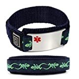 CELIAC DISEASE Medical ID Alert Bracelet with Lizard Velcro wrist band.