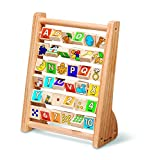 Melissa & Doug ABC-123 Abacus - Classic Wooden Educational Toy With 36 Letter and Number Tiles
