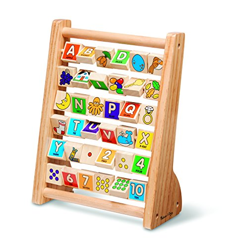 Melissa & Doug ABC-123 Abacus - Classic Wooden Educational Toy With 36 Letter and Number Tiles -