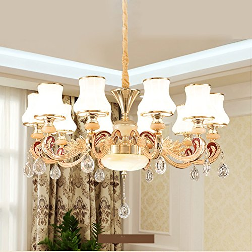 YXGH Pendant Lights- Continental Living Room Chandelier Simple European Style Bedroom Restaurant Chandelier Luxurious Atmosphere Crystal Light Lighting Fixtures (Size : 10-head 9455cm)