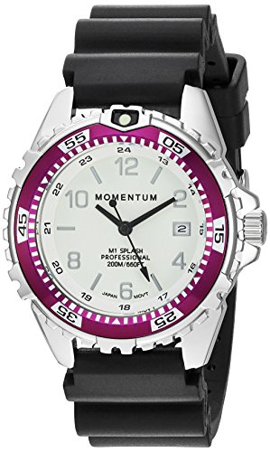 Women's Quartz Watch | M1 Splash by Momentum| Stainless Steel Watches for Women | Dive Watch with Japanese Movement & Analog Display | Water Resistant ladies watch with Date –Lume  / Eggplant Rubber